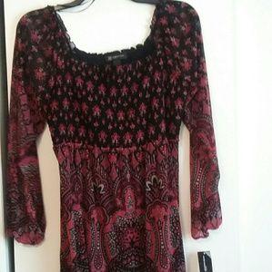 NWT INC  1x plus size black paisley boho tunic
